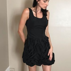 Express Black Bubble Ruffle Fitted Mini Dress
